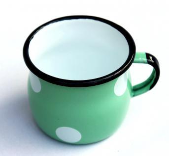 Emaille Tasse 501w/7 Hellgrün mit weißen Punkten Becher emailliert 7 cm Kaffeebecher Kaffeetasse - Vorschau 4