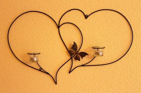 Doppelherz Wandteelichthalter Herz 65 cm Teelichthalter aus Metall Wandleuchter Kerzenhalter - Vorschau 2