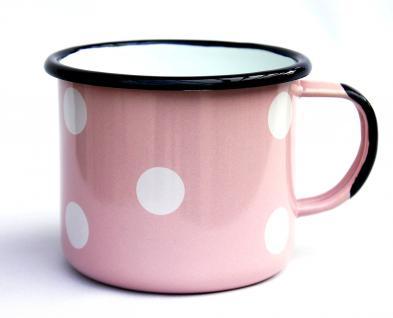 Emaille Tasse 501/10 Rosa mit weißen Punkten Becher emailliert 10 cm Kaffeebecher Kaffeetasse - Vorschau 2