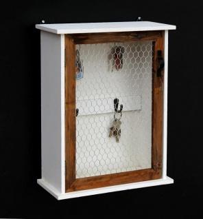 Schlüsselregal Holz Weiß Briefablage Wandregal Schlüsselkasten 12045 Regal 42 cm Vintage Shabby Landhaus Küchenregal - Vorschau 1