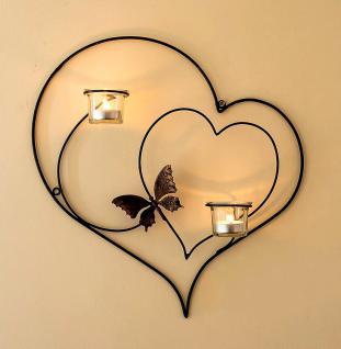 Wandteelichthalter Herz 39cm Schwarz Teelichthalter aus Metall Wandleuchter Kerzenhalter