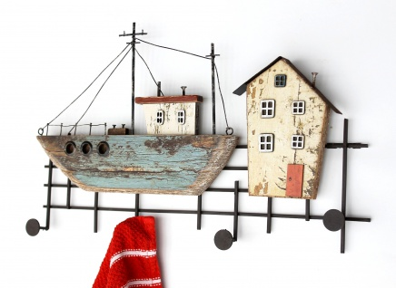 Hakenleiste Schiff MR52 Garderobenleiste Garderobe Wandgarderobe Martim Vintage Shabby Handtuchhalter Küche