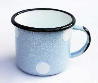 Emaille Tasse 501/8 Hellblau mit weißen Punkten Becher emailliert 8 cm Kaffeebecher Kaffeetasse