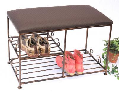 Schuhregal mit Sitzbank Art.295 Bank 70cm Schuhschrank aus Metall Schuhablage - Vorschau 1