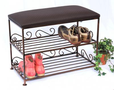 Schuhregal mit Sitzbank Art.165 Bank 60cm Schuhschrank aus Metall Schuhablage - Vorschau 1
