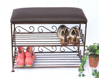 Schuhregal mit Sitzbank Art.165 Bank 60cm Schuhschrank aus Metall Schuhablage - Vorschau 2
