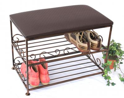 Schuhregal mit Sitzbank Art.165 Bank 60cm Schuhschrank aus Metall Schuhablage - Vorschau 4