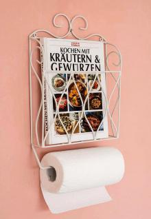 Küchenrollenhalter Zeitungsständer Weiß 43cm Küchenregal Zeitungshalter Wandregal Küchenregal Papierrollenhalter