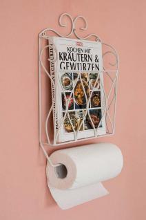 Küchenrollenhalter Zeitungsständer Weiß 43cm Küchenregal Zeitungshalter Wandregal Küchenregal Papierrollenhalter - Vorschau 5