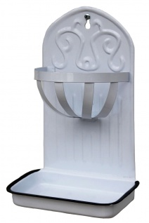 Seifenhalter Seifenbehälter Seifenschale Weiß 5508 Landhausstil Schwamhalter Küche Wand Schwammablage Alt Antik Vintage