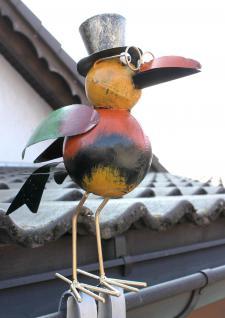 Rabe für die Dachrinne 30cm Bunt Vogel aus Metall 2344 Dachschmuck Gartendeko