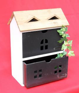 Minikommode Haus Kommode 14B410 Schrank mit 2 Schubladen 38cm Ordner Küchenregal