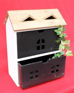 Minikommode Haus Kommode 14B410 Schrank mit 2 Schubladen 38cm Ordner Küchenregal - Vorschau 5