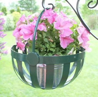 Blumenampel Blumenkorb Korb mit Wandhaken verzinkt und pulverbeschichtet Grün