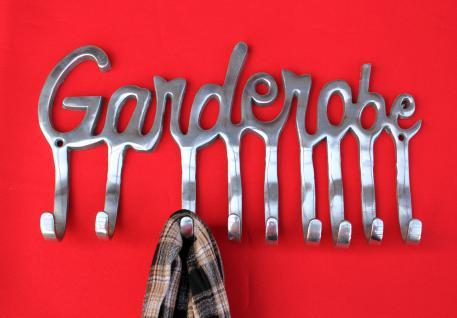 Garderobe 14463 Wandgarderobe 40cm mit 9 Kleiderhaken aus Alu Silberfarben Haken - Vorschau 4