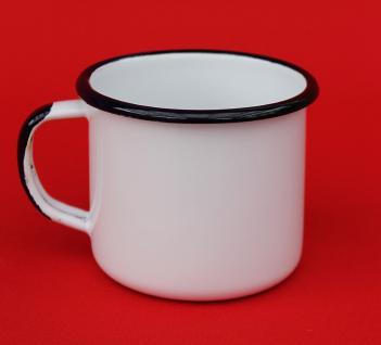 Emaille Tasse 501/8 Weiß Becher emailliert 8 cm Kaffeebecher Kaffeetasse Teetasse - Vorschau 2