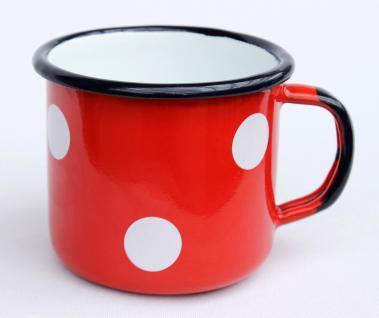 Emaille Tasse 501/8 Rot mit Weiße Pünktchen Becher emailliert 8 cm Kaffeebecher Kaffeetasse Teetasse - Vorschau 1