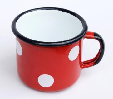 Emaille Tasse 501/8 Rot mit Weiße Pünktchen Becher emailliert 8 cm Kaffeebecher Kaffeetasse Teetasse - Vorschau 2