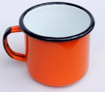 Emaille Tasse 501/8 Orange Becher emailliert 8 cm Kaffeebecher Kaffeetasse Teetasse - Vorschau 2
