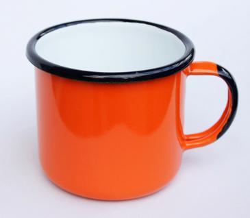 Emaille Tasse 501/10 Orange Becher emailliert 10 cm Kaffeebecher Kaffeetasse Teetasse