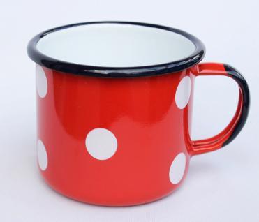 Emaille Tasse 501/10 Rot mit weißen Punkten Becher emailliert 10cm Kaffeebecher Kaffeetasse Teetasse - Vorschau 1