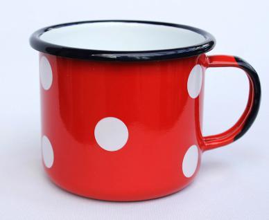 Emaille Tasse 501/10 Rot mit weißen Punkten Becher emailliert 10cm Kaffeebecher Kaffeetasse Teetasse - Vorschau 2