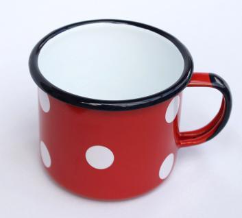 Emaille Tasse 501/10 Rot mit weißen Punkten Becher emailliert 10cm Kaffeebecher Kaffeetasse Teetasse - Vorschau 3