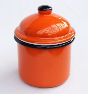 Aufbewahrungsdose 501Z Orange Dose 15cm emailliert Vintage Landhaus Mehlbüchse Emaille