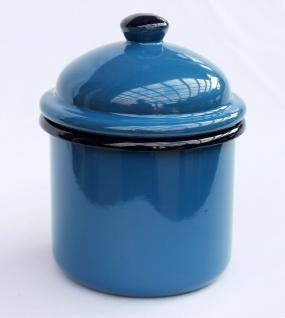 Aufbewahrungsdose 501Z Blau Dose 15cm emailliert Vintage Landhaus Mehlbüchse Emaille