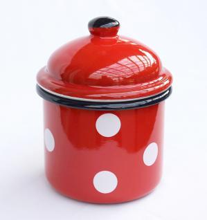 Aufbewahrungsdose 501Z Rot mit weißen Punkten Dose 15cm emailliert Vintage Landhaus Mehlbüchse Emaille - Vorschau 1