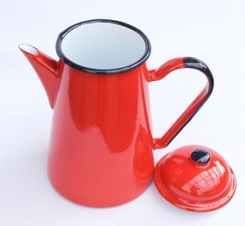 Kaffeekanne 578TB Rot emailliert 22cm Wasserkanne Kanne Emaille Nostalgie Teekanne - Vorschau 3