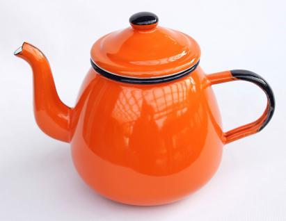 Teekanne 582AB Orange emailliert 14cm Wasserkanne Kanne Kaffeekanne Emaille Nostalgie