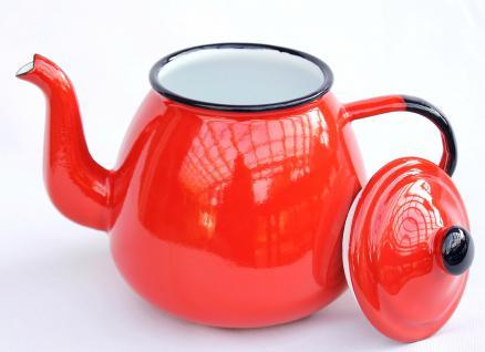 Teekanne 582AB Rot emailliert 14cm Wasserkanne Kanne Kaffeekanne Emaille Nostalgie - Vorschau 2