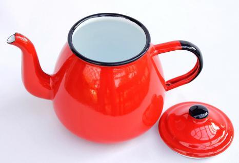 Teekanne 582AB Rot emailliert 14cm Wasserkanne Kanne Kaffeekanne Emaille Nostalgie - Vorschau 3