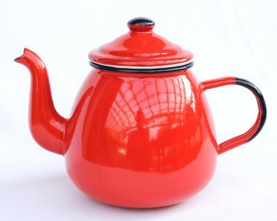 Teekanne 582AB Rot emailliert 14cm Wasserkanne Kanne Kaffeekanne Emaille Nostalgie - Vorschau 4