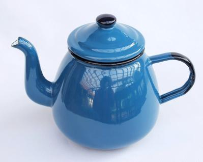 Teekanne 582AB Blau emailliert 14cm Wasserkanne Kanne Kaffeekanne Emaille Nostalgie