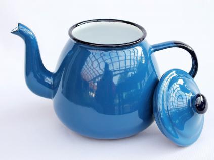 Teekanne 582AB Blau emailliert 14cm Wasserkanne Kanne Kaffeekanne Emaille Nostalgie - Vorschau 2