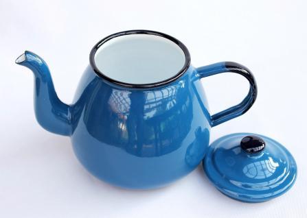 Teekanne 582AB Blau emailliert 14cm Wasserkanne Kanne Kaffeekanne Emaille Nostalgie - Vorschau 3