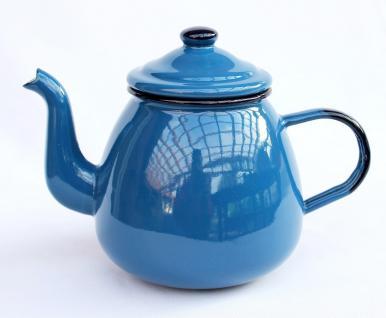 Teekanne 582AB Blau emailliert 14cm Wasserkanne Kanne Kaffeekanne Emaille Nostalgie - Vorschau 4