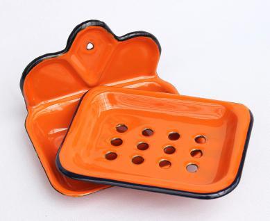 Seifenhalter 618 Orange Seifenschale 13cm emailliert Landhaus Emaille Seifenspender - Vorschau 2