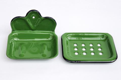 Seifenhalter 618 Grün Seifenschale 13cm emailliert Landhaus Emaille Seifenspender - Vorschau 4