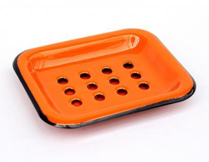 Seifenhalter 617A Orange Seifenschale 13cm emailliert Landhaus Emaille Seifenspender - Vorschau 1