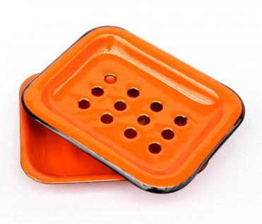 Seifenhalter 617A Orange Seifenschale 13cm emailliert Landhaus Emaille Seifenspender - Vorschau 2