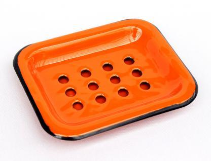 Seifenhalter 617A Orange Seifenschale 13cm emailliert Landhaus Emaille Seifenspender - Vorschau 3