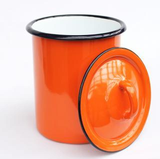 Aufbewahrungsdose 665Z Orange Dose 19cm emailliert Behälter Landhaus Mehlbüchse Emaille