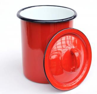 Aufbewahrungsdose 665Z Rot Dose 19cm emailliert Behälter Landhaus Mehlbüchse Emaille