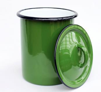 Aufbewahrungsdose 665Z Grün Dose 19cm emailliert Behälter Landhaus Mehlbüchse Emaille