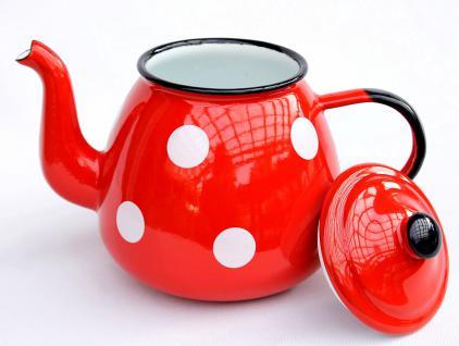 5 tlg. Set Teekanne + 4 Tassen 582AB+501/8 Rot mit Punkten emailliert Kaffeekanne Emaille Email - Vorschau 4