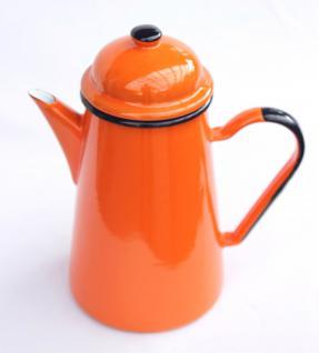 5 tlg. Set Kaffeekanne + 4 Tassen 578TB+501/8 Orange emailliert Teekanne Emaille Email - Vorschau 2