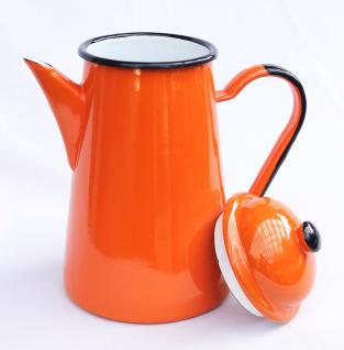5 tlg. Set Kaffeekanne + 4 Tassen 578TB+501/8 Orange emailliert Teekanne Emaille Email - Vorschau 4